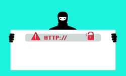 Fake Phishing website. A hacker steals personal data, passwords, and accesses users ' personal bank cards. The concept of cybercrime, Internet fraud, phishing scam. Vector illustration in a flat style