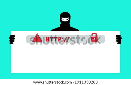 Fake Phishing website. A hacker steals personal data, passwords, and accesses users ' personal bank cards. The concept of cybercrime, Internet fraud, phishing scam. Vector illustration in a flat style Foto d'archivio ©