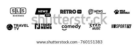 fake tv channel logo set