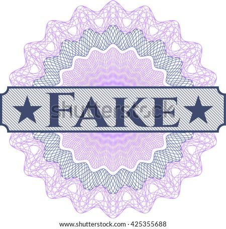 Fake written inside a money style rosette