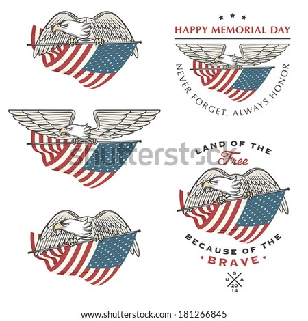Falcon (eagle) flying with American flag. Independence and Memorial Day design elements