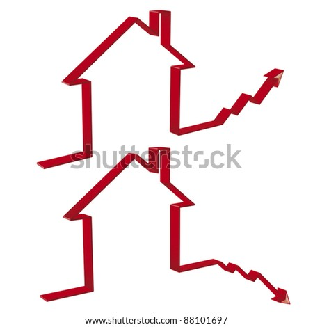 fall and rise of housing prices in 3D editable vector file