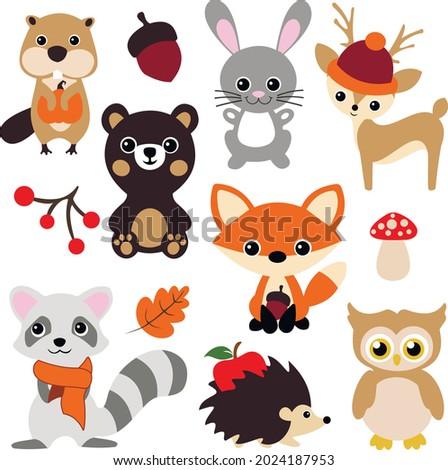 Fall animals svg vector Illustration isolated on white background. Woodland Animals Svg Clipart. Wild Animals autumn bundle. Beaver, bear, hare, deer, fox, owl, raccoon, hedgehog. Cute Autumn animal