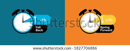 Fall back, Spring forward clocks going forward and back vector design