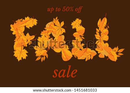 Fall clearance sale web banner vector template. Autumn season shopping special offer advertising poster. September, october discounts for customers. Orange oak and maple leaves stylized typography