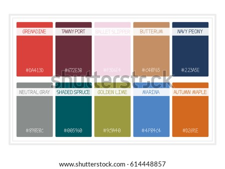 Fall Colors for 2017. Colors of the Year, Palette Fashion Colors. with Name. Vector Illustration