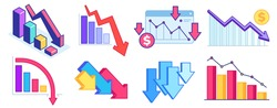 Fall down chart. Finance crisis, business problem and economy drop. Down arrow graph, loss and decrease income. Profit declining vector set. Crisis economy, arrow down, problem decrease illustration