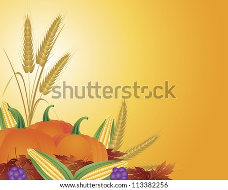 Fall Harvest with Wheat Grain Pumpkins Corns Grapes and Leaves Vector Illustration