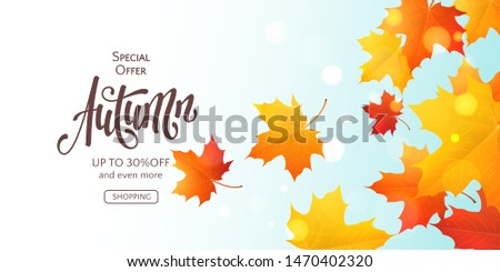 fall horizontal banner with 3d