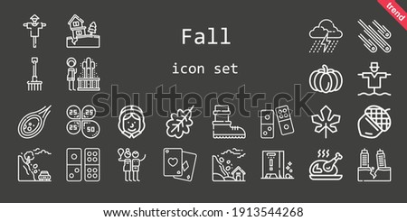 fall icon set line icon style