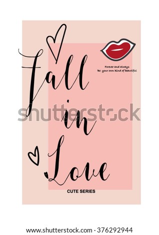 fall in love  type slogan for clothing