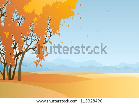 Fall landscape. Vector  of  trees with orange and yellow leaves at autumn landscape.