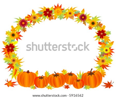 Fall leaves with pumpkins