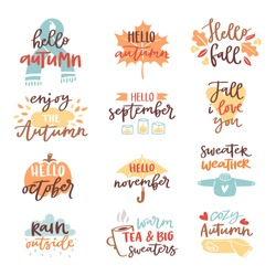 Fall nature season vintage hand drawn lettering stickers with text autumn and floral elements phrases vector illustration