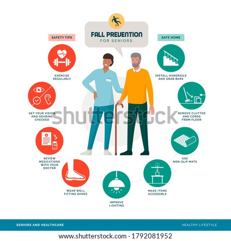 Fall prevention tips infographic with smiling caregiver assisting a senior man, healthy lifestyle concept