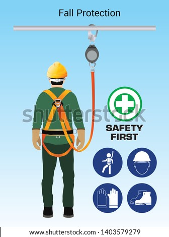 Fall Protection, Construction worker safety first, vector design