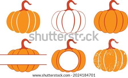 Fall pumpkin monogram Svg vector Illustration isolated on white background. Vegetable monogram design. Autumn monogram shirt design. Fall monogram sublimation
