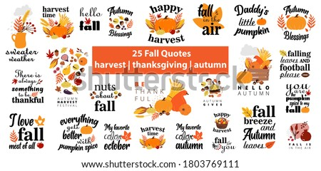 Fall Quotes harvest Autumn lettering vector set. Fall season slogan stickers pack. Autumn phrases with cute and cozy design elements decorative bundle. Fall inscription collection isolated