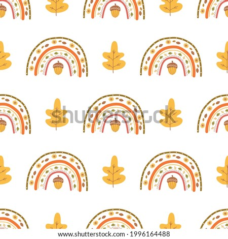 Fall rainbow pattern, fall leaves, acorn. Cute autumn seamless background. Kids autumn rainbow. Thanksgiving vector illustration. Fall season wallpaper, wrap Harvest time, fall market banner.