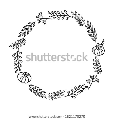 Fall round frame with hand drawn pumpkins, berries, twigs on white background. Autumn composition. Border of autumn. For wedding invitation and birthday card. For text, photo, save date, logo