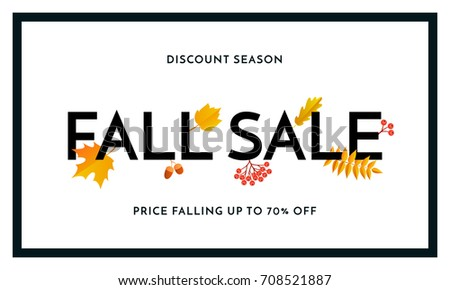 Fall sale poster or autumnal shopping promo banner of autumn maple leaf, oak acorn foliage and discount text. Vector design for shop leaflet or fall sale web banner background