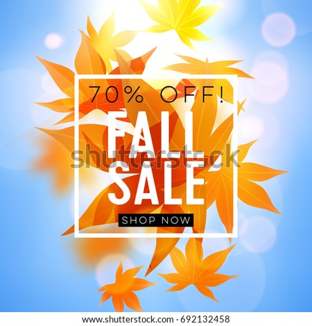 Fall sale. Realistic autumn maple leaves with text. Momiji. Vector illustration on white and blue background. #692132458