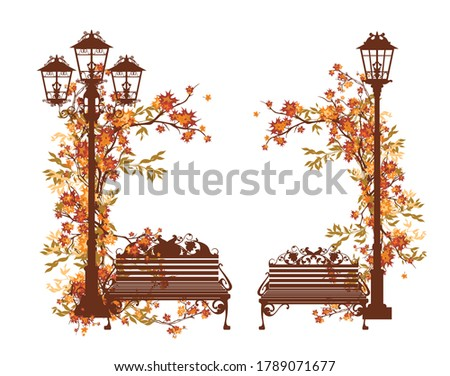 fall season in the park vector