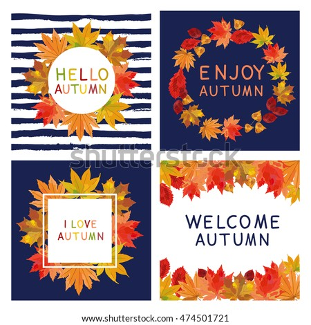 Fall set. Leaves composition.Banners of autumn season. Hand drawn autumn leaves; welcome autumn; hello autumn; enjoy autumn