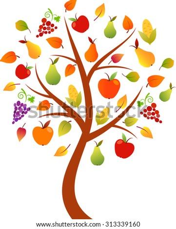 fall tree vector  fruit tree