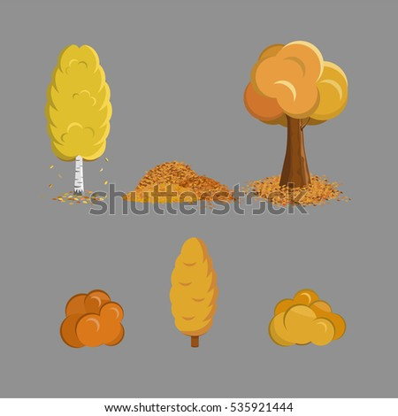 fall trees and bushes set with
