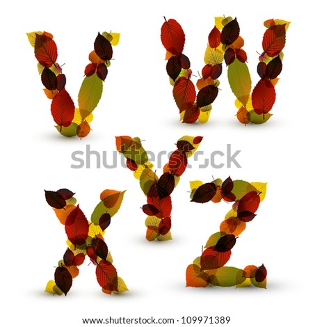 Fall Vector alphabet letters / font made from colorful leafs
