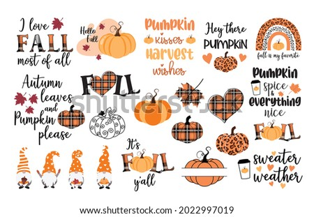 Fall vector set, autumn quote bundle, cute fall illustrations collection