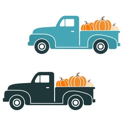 Fall Vintage Truck Set with Pumpkins Vector Illustration on White