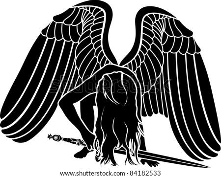 fallen angel with sword