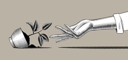 Fallen pot with plant and female hand. Vintage engraving stylized drawing. Vector illustration