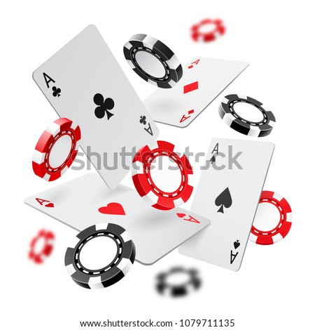 Falling aces and casino chips with blurred elements on white background. Playing cards, red and black money chips fly. The concept of winning or gambling. Poker and card games. Vector 3d illustration