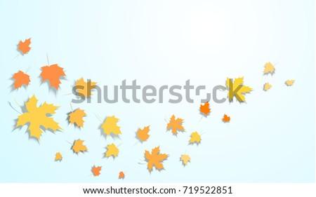 Falling Autumn Leaves Vector Background. Seasonal Frame for September, October, November. Realistic Red, Orange, Yellow Falling Autumn Leaves Confetti Flying. Seasonal Banner, Windy Weather Wallpaper.