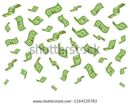 Falling banknotes. Wealth money denominations rain, falling dollar bills and abundance raining cash dollars flying, currency success finance vector cartoon concept illustration
