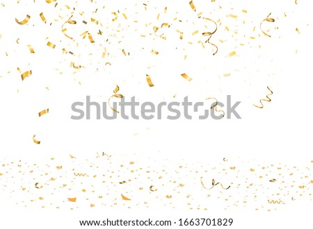 Falling bright gold Glitter confetti, ribbon, stars celebration, serpentine isolated on white background. confetti flying on the floor. New year, birthday, valentines day design element.
