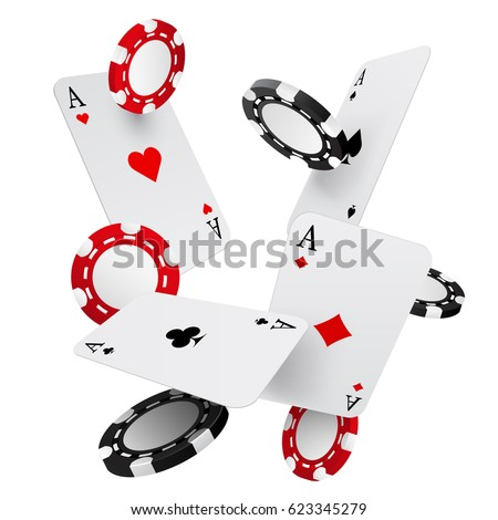 falling casino chips and aces