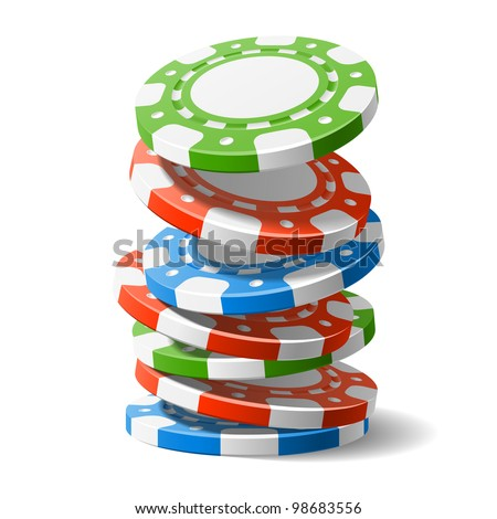 Falling casino chips. Vector.