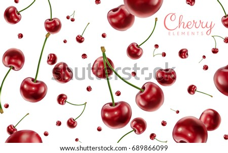 Falling cherries elements, realistic cherry background on white in 3d illustration