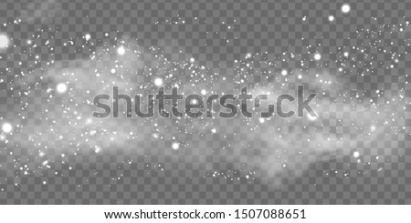 Falling Christmas beautiful snow, fog, wind, blizzard isolated on transparent background. Heavy snowfall, snowflakes. Winter background for merry christmas and happy new year. vector illustration.