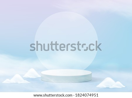 Falling christmas shining snow minimal scene with pedestal 3d winter platform. pedestal winter holidays ice snow background vector 3d rendering with podium. stand to show product. winter is stage 3d