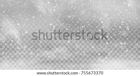 Falling Christmas Shining transparent beautiful, little snow isolated on transparent background. Snow flakes, snow background. Vector heavy snowfall, snowflakes in different shapes and forms. stock photo