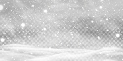 Falling Christmas Shining transparent beautiful, shining snow with snowdrifts isolated on transparent background. Snowflakes, snow background. Heavy snowfall, snowflakes in different shapes and forms.