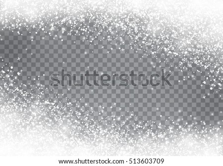 Falling Christmas snow. Snowflakes isolated on transparent background.  stock photo