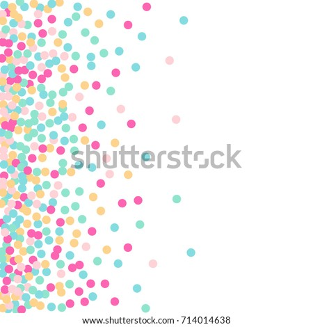 Falling Confetti. Bright Background of Multicolored Confetti. Square Card and Frame. Vector Isolated Confetti on White Background Pattern. Template for Holiday Designs, Invitation, Birthday, Wedding.