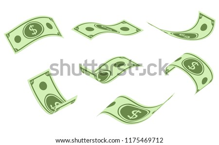 Falling dollar banknotes, money rain, flat vector illustration isolated on white background. American dollar falling set, animation ready. USD paper notes flying in the air.