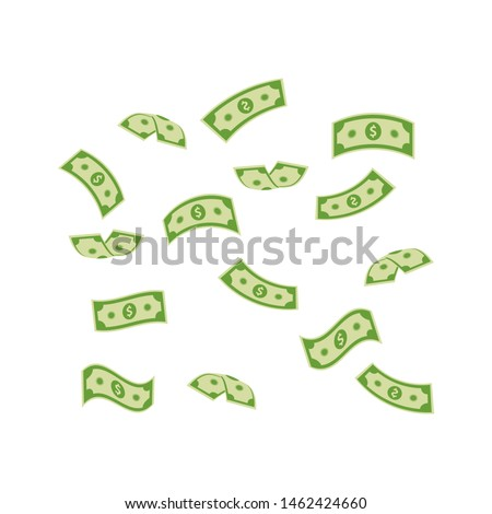 Falling dollar banknotes, money rain  vector illustration isolated on white background. USD paper notes flying in the air. Business and finance symbol. Online payment concept.